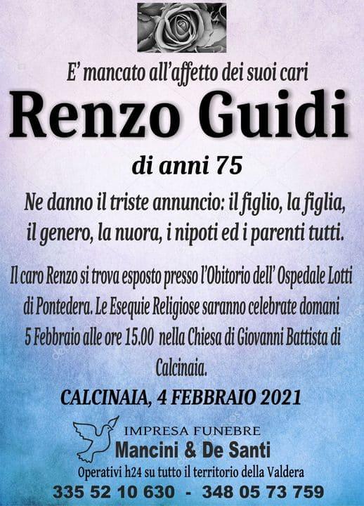 Necrologio Funebre Renzo Guidi, Funerale Calcinaia, Onoranze Funebri Calcinaia, Cimitero Calcinaia, obitorio lotti di Pontedera, rito funebre Calcinaia