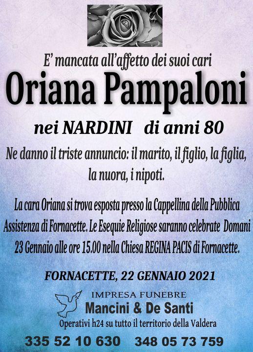 necrologio funebre Oriana Pampaloni, funerale Fornacette, funerale Calcinaia, Cimitero Calcinaia, regina pacis, onoranze funebri Calcinaia, onoranze funebri
