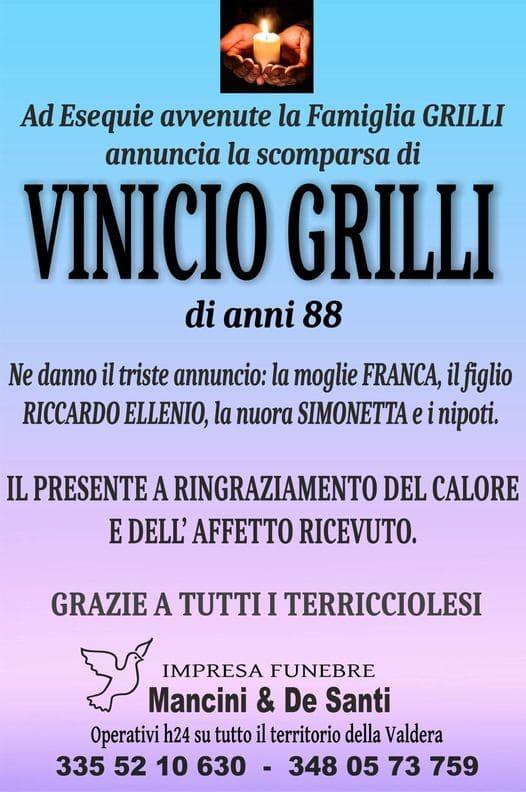 ringraziamento Vinicio Grilli, funerale Terricciola, onoranze funebri Terricciola, sevizi funebri Terricciola