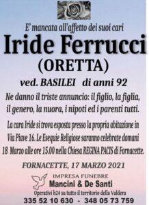 Necrologio Funebre Iride Ferrucci, Oretta, Vedova Basilei - Funerale Fornacette, Impresa Funebre Fornacette, Onoranze Funebri Calcinaia, Rito Funebre Regina Pacis