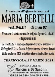 Necrologio Funebre Maria Bertelli, vedova Baldi. Funerale Terricciola. Chiesa Parrocchiale di Terricciola