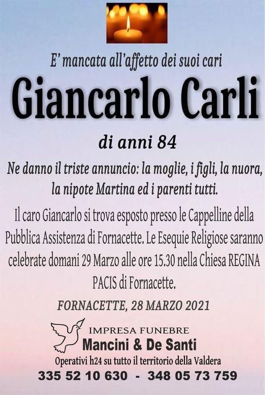 Necrologio Giancarlo Carli di anni 84, funerale a Fornacette - Calcinaia. Esposta Cappellina Pubblica Assistenza, Funerali Lunedì Chiesa Regina Pacis