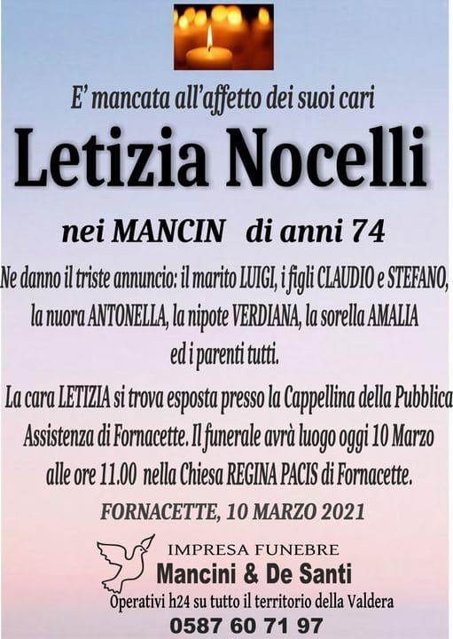 Necrologio Letizia Nocelli, Funerale Fornacette, Onoranze funebri Calcinaia, servizi funebri Valdera