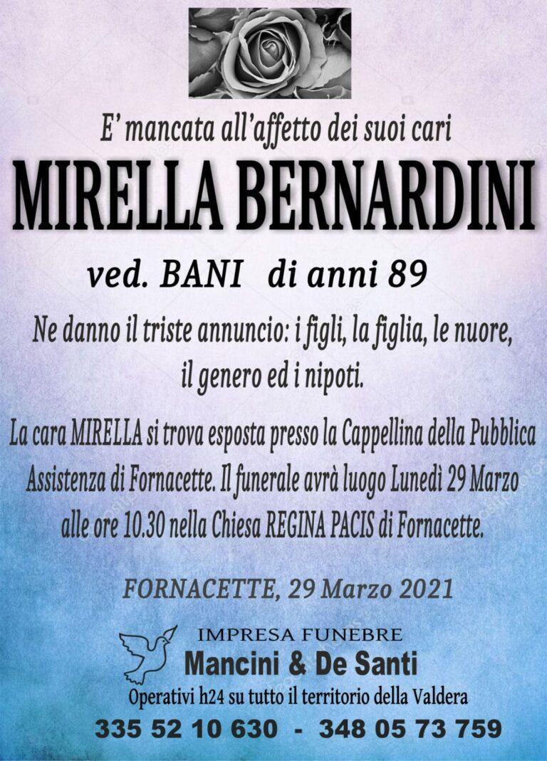 Necrologio Mirella Bernardini, vedova Bani, funerale a Fornacette - Calcinaia. Esposta Cappellina Pubblica Assistenza, Funerali Lunedì Chiesa Regina Pacis