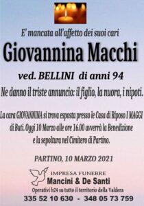 necrologio Giovannina Macchi, vedova bellini, funerale Partino, funerale Palaia, servizi funebri Forcoli, onoranze funebri Palaia, funerale completo Partino
