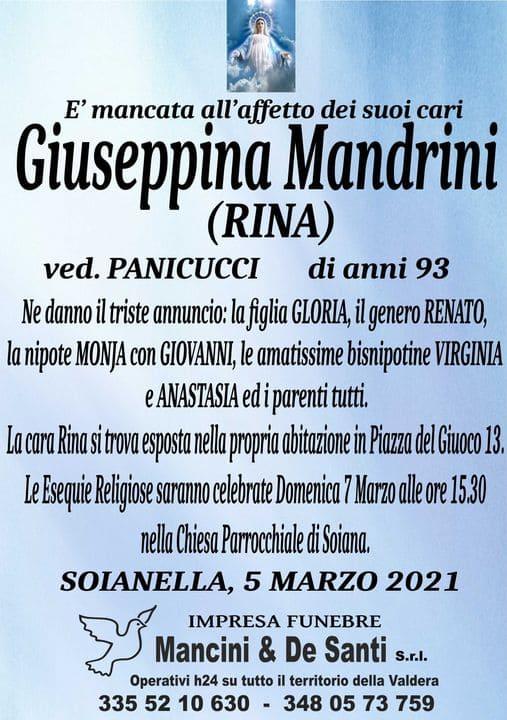 necrologio -Giuseppina Mandrini - Comune di Terricciola - Soianella -onoranze funebri Terricciola - uimpresa funbre Soianella - onoranze funebri Soiana