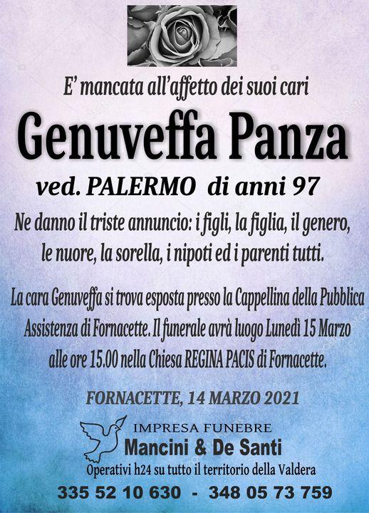 necrologio funebre Genuveffa Panza, vedova Palermo, Funerale Fornacette, Impresa Funebre Calcinaia
