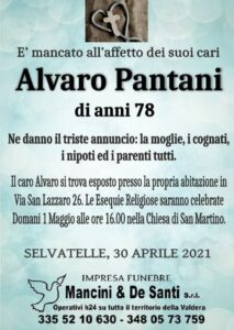 Alvaro Pantani - Necrologio - Selvatelle - Onoranze Funebri Selvatelle - Impresa funebre Mancini - Riti funebri Terricciola - Valdera