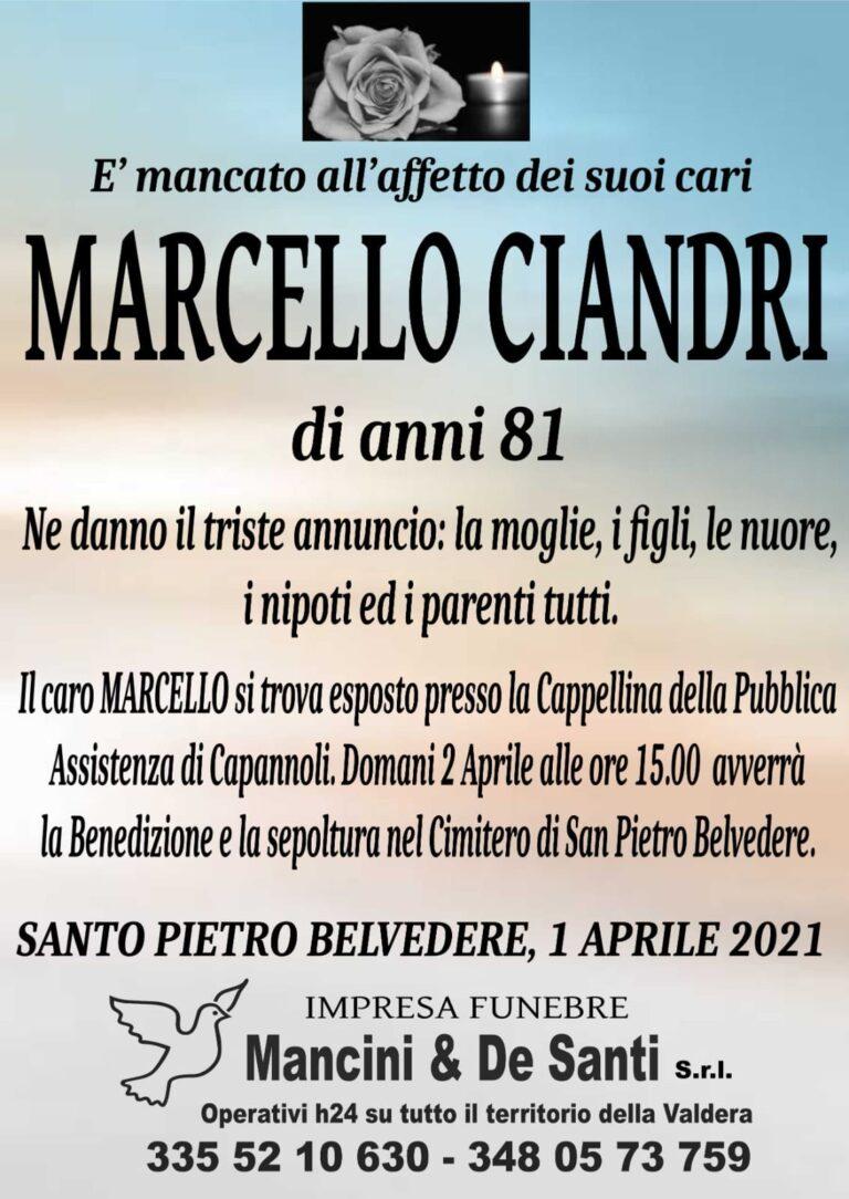 Necrologio Marcello Ciandri di anni 81 - Santo Pietro Belvedere - onoranze funebri Santo Pietro Belvedere - Impresa funebre di Capannoli - Pompe Funebri Valdera