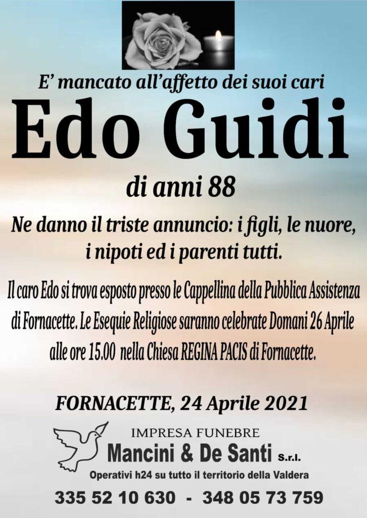 necrologio Edo Guidi - Funerale Fornacette - impresa funebre di Calcinaia - Onoranze funebri di Fornacette - Regina Pacis - 26 aprile 2021