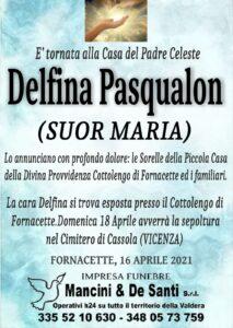 necrologio Suor Delfina Pasqualon - funerale Calcinaia - servizi funebri Fornacette - Onoranze Funebri Mancini & De Santi