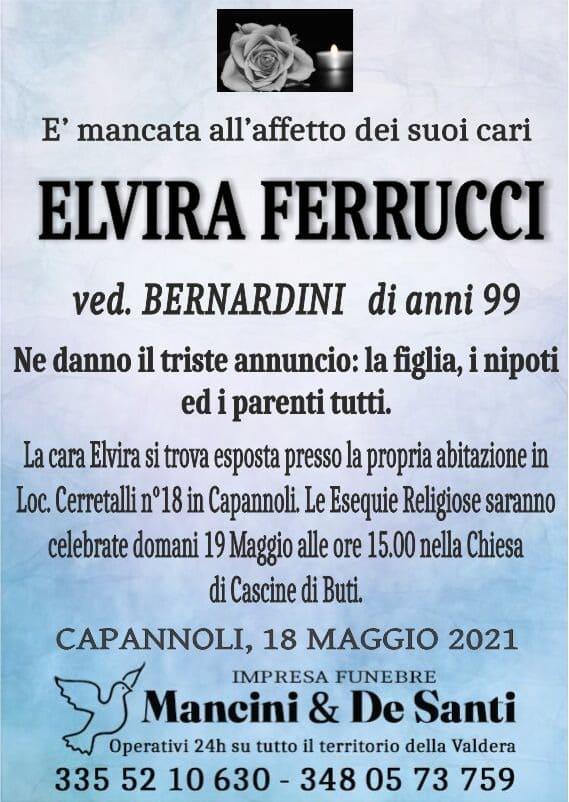 Elvira Ferrucci - 99 anni - Necrologio Capannoli - Funerale 19 Maggio 2021 - Ore 15.00 - Chiesa di Cascine di Buti - Onoranze Funebri Mancini