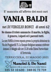 Vania Baldi - anni 62 - Necrologio - avviso di morte - Funerali a Terrcciola - domenica 23.05.21 - Chiesa Parrocchiale Terricciola - Onoranze Funebri Mancini