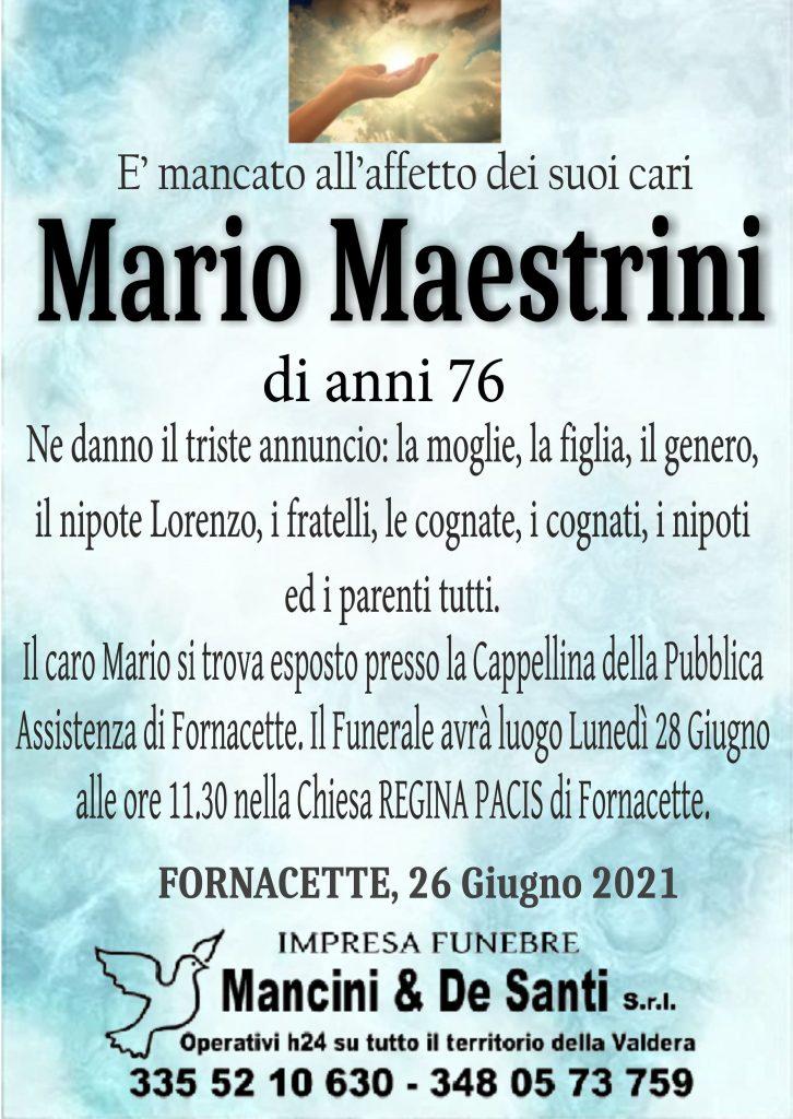 Avviso di Morte Maestrini Mario, di anni 76 - Calcinaia, Fornacette, Palaia - Onoranze Funebri Mancini