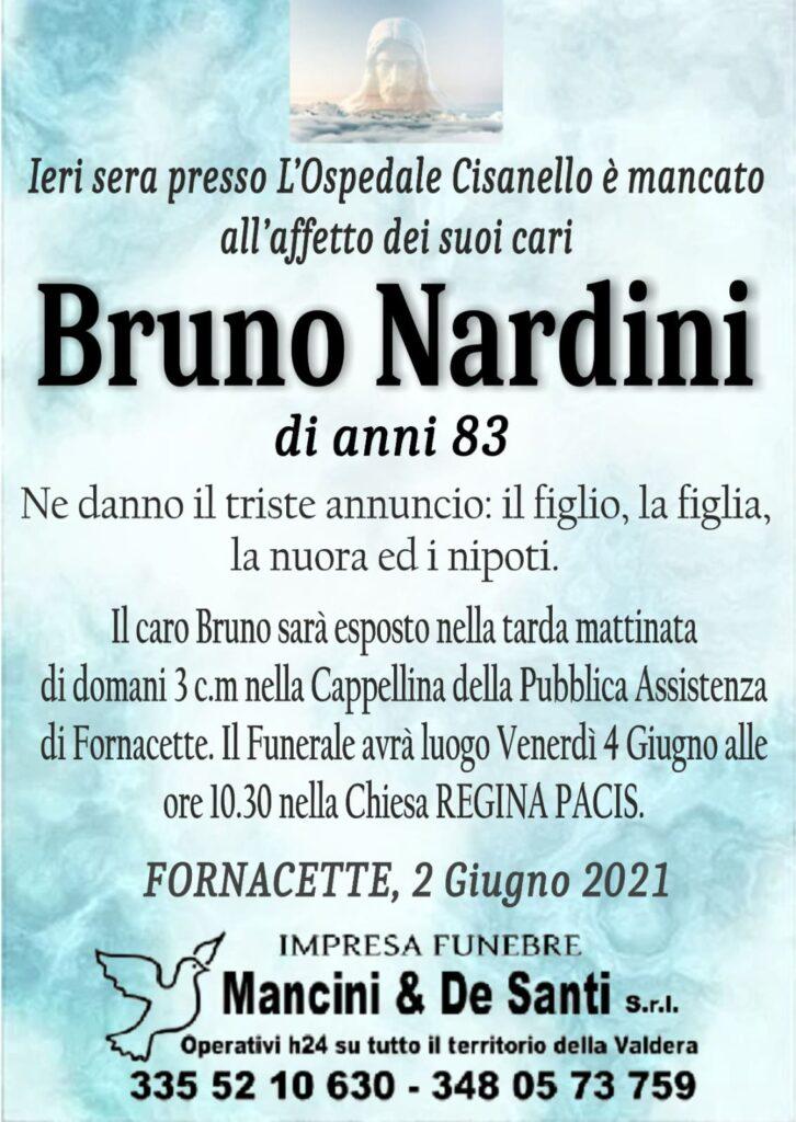Bruno Nardini - necrologio Fornacette - annuncio di Morte - onoranze funebri Mancini