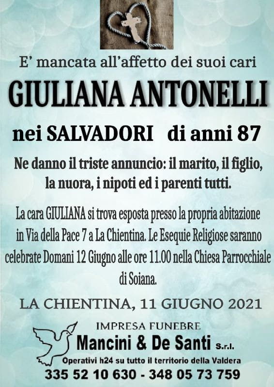 Giuliana Antonelli - nei Salvadori - di anni 87 - Avviso di morte la Chientina - Soiana - Terricciola - Pisa - Onoranze Funebri Mancini - Impresa Funebre Pontedera