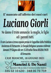 Luciano Giorli - Avviso di morte - necrologio Calcinaia - Fornacette - Zona Case Bianche - Onoranze Funebre Mancini - Funerali Chiesa Regina Pacis