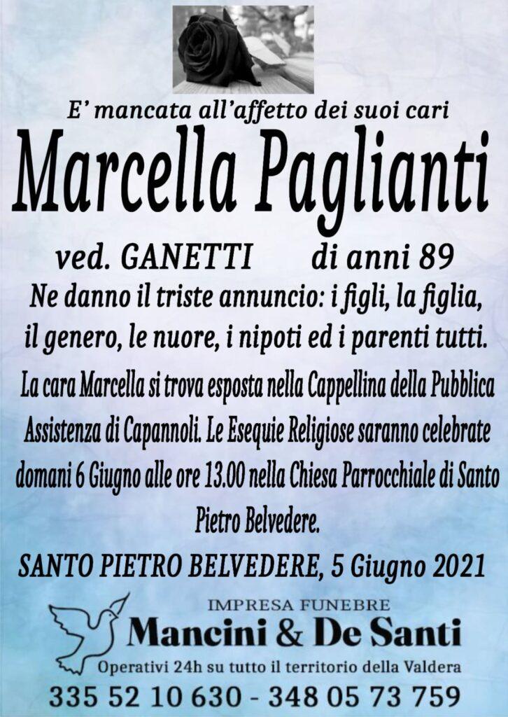 Necrologio Marcella Paglianti - Vedova Ganetti -Santo Pietro Belvedere