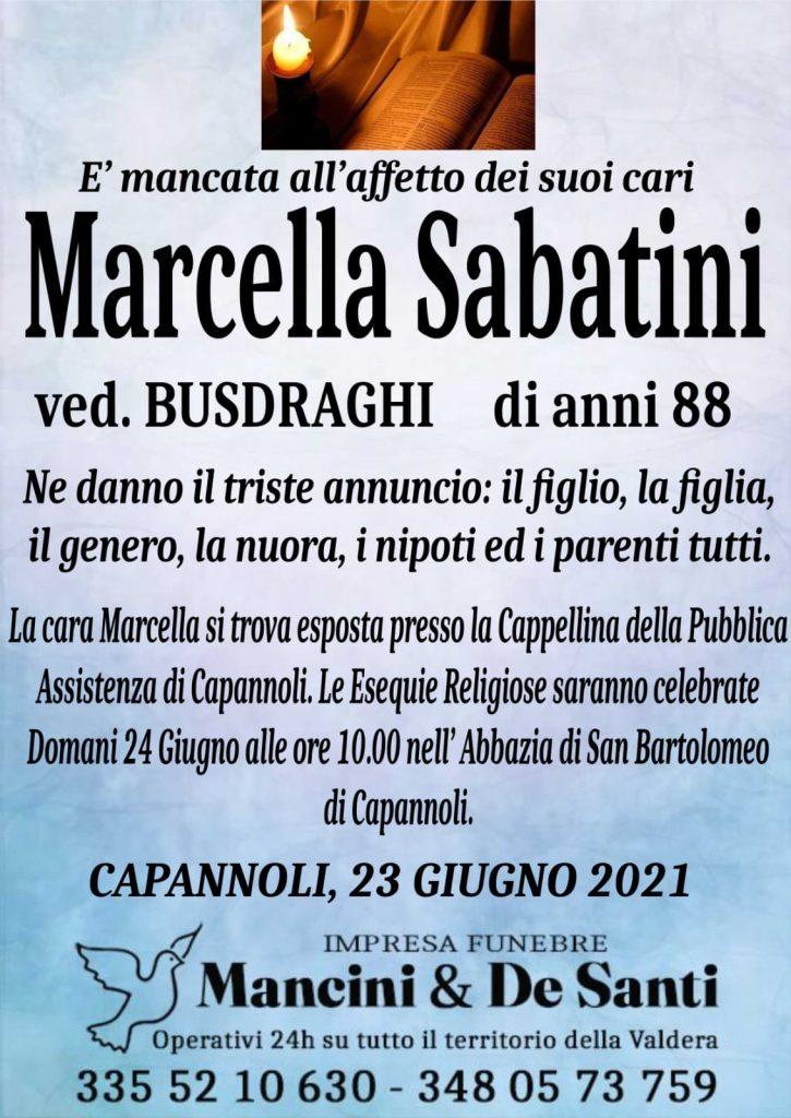 Marcella Sabatini - Vedova Busdraghi - di anni 88 - Avviso di morte- Funerale Capannoli