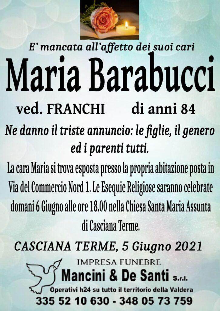 Necrologio Maria Barabucci - Vedova Franchi - Avviso di morte Casciana Terme Lari - Chiesa Parrocchiale Santa Maria Assunta Casciana Terme