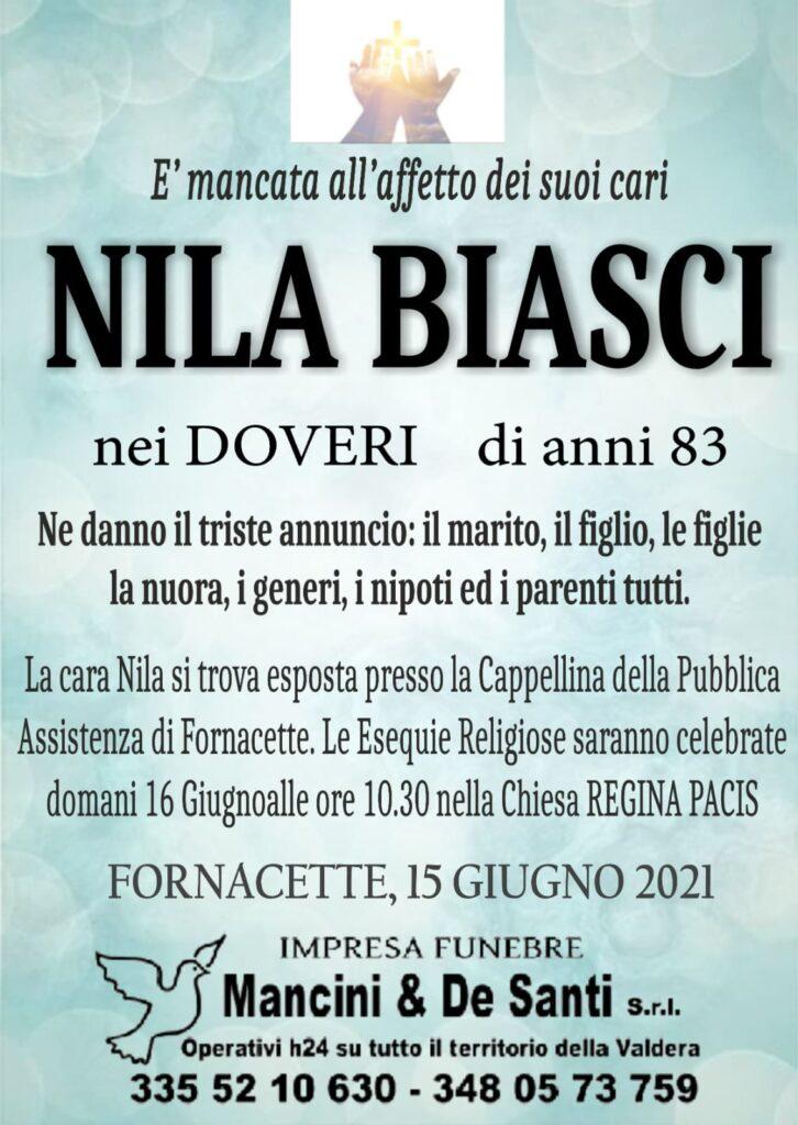 Nila Biasci - di anni 83 - nei Doveri - Necrologio Fornacette - Onoranze Funebri Mancini & De Santi - Calcinaia
