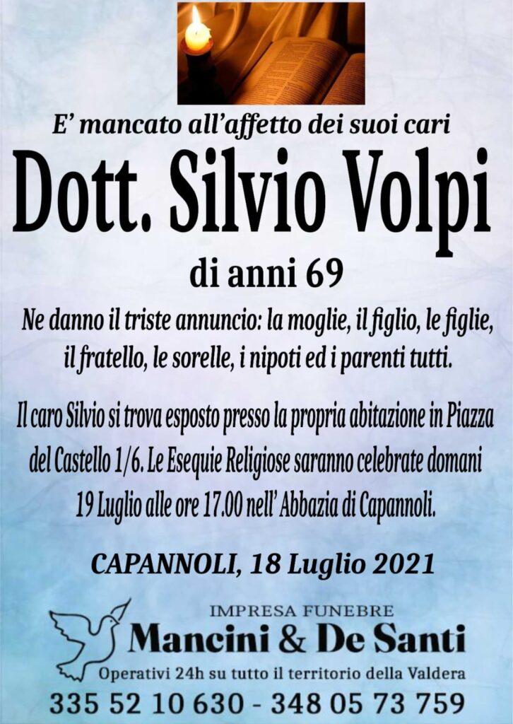 Necrologio dott. Silvio Volpi - Funerale a Capannoli - 19 luglio ore 17.00 - Abbazia di Capannoli