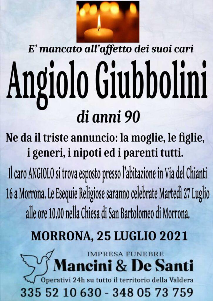 Nercologio Angiolo Giubbolini - anni 90 - funerale Morrona - martedì 27 luglio ore 10.00 - Chiesa San Bartolomeo di Morrona