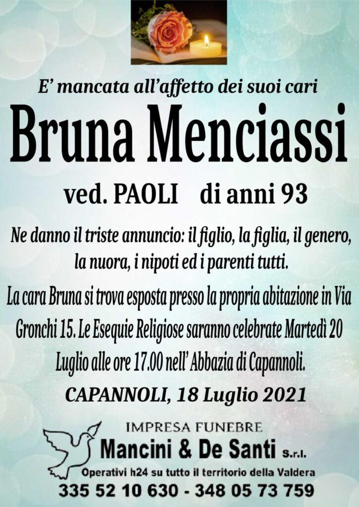 necrologio Bruna Menciassi - vedova Paoli - funerale Capannoli - martedì 20 luglio - ore 17.00 - Abbazia Capannoli