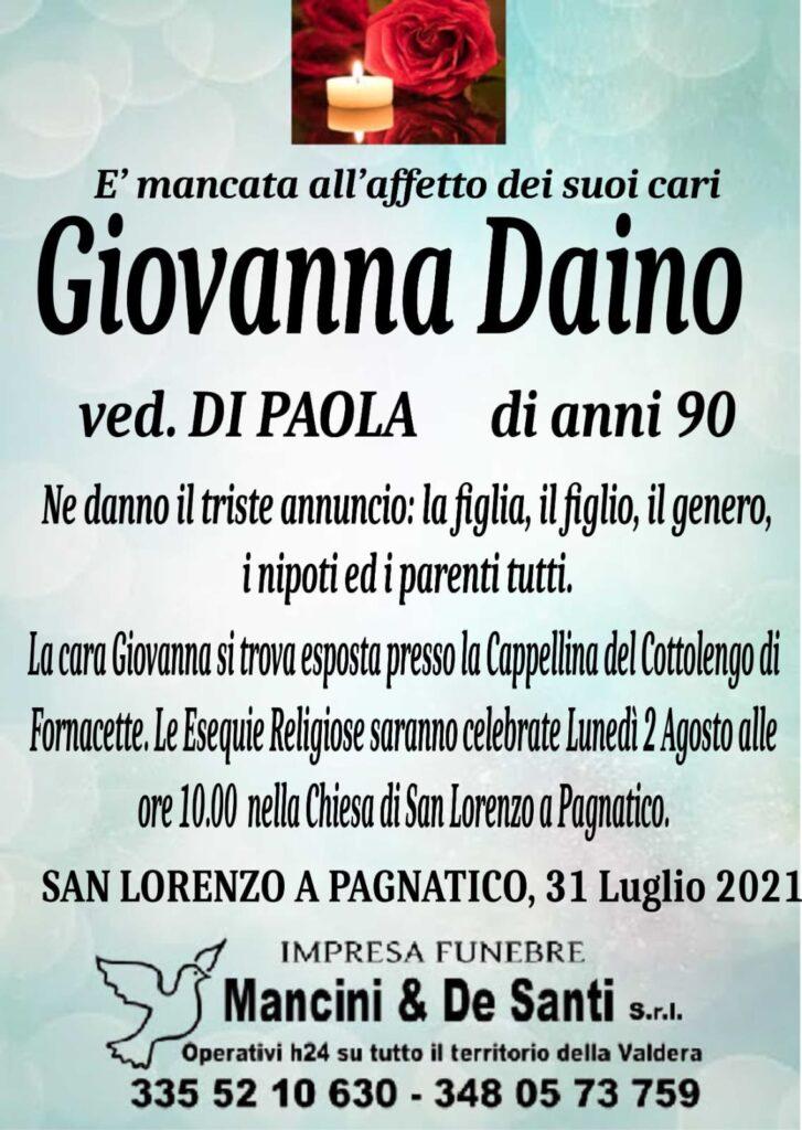 necrologio Giovanna Daino - funerale san lorenzo a pagnatico - luned+¼ 2 agosto - cascina