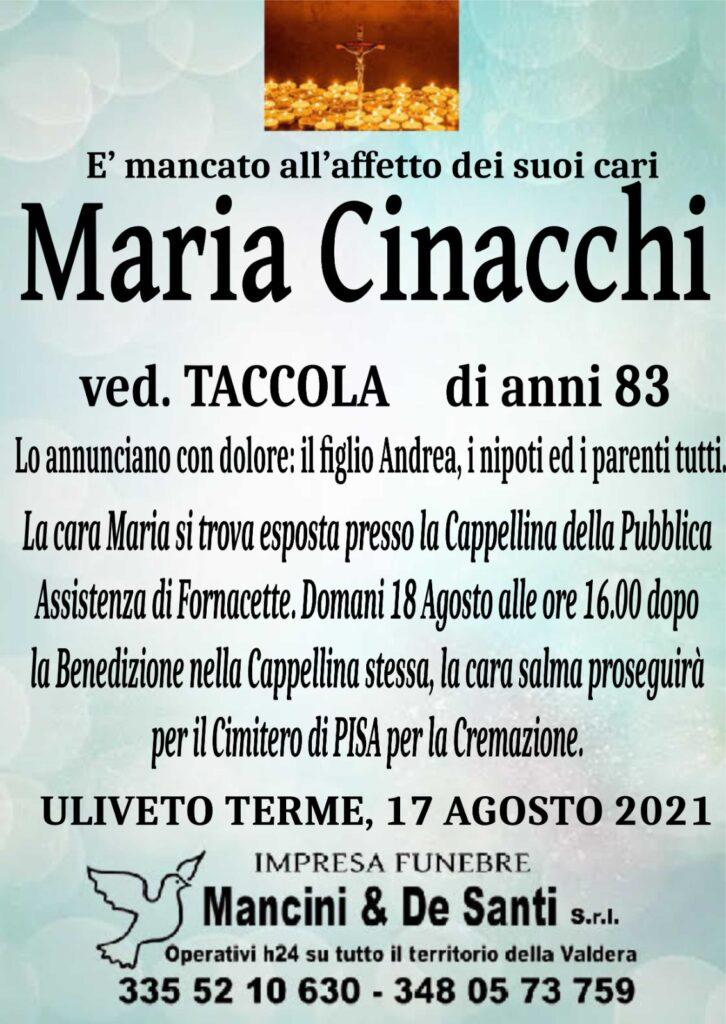 Necrologio Maria Cinacchi Uliveto Terme