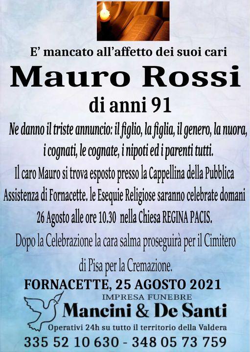 Necrologio Mauro Rossi - Fornacette - 25 Agosto 2021