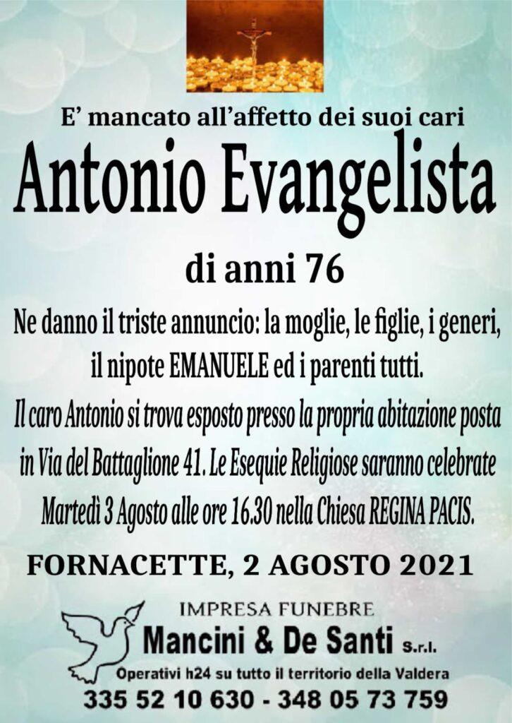 necrologio fornacette - funerali calcinaia - antonio evangelista - chiesa regina pacisa - martedì 3 agosto - ore 16.30