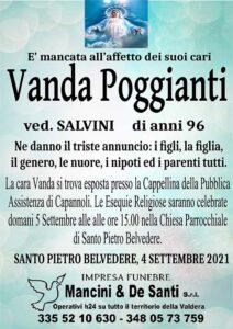 Necrologio Vanda Poggianti - vedova Salvini - Capannoli - Santo Pietro Belvedere - 4 settembre 21