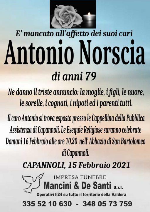 Necrologio funebre Antonio Norscia, funerale Capannoli, onoranze funebri Capannoli, Impresa Funebre Capannoli, riti Funebri Capannoli, pompe funebri Capannoli